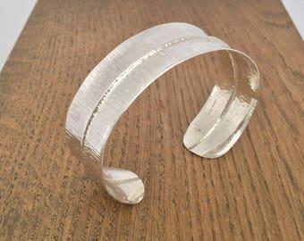 Silver folded textured cuff bangle, hallmarked
