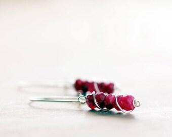 Sterling silver Ruby gemstone earrings | Natural genuine Ruby earrings | July birthstone earrings | Real Ruby jewelry | Red beaded earrings