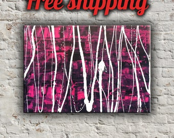 Stripes on canvas Acrylic Painting Wall art Abstract artwork Striped Colors Original artwork Modern Contempopary art Textured picture Gift