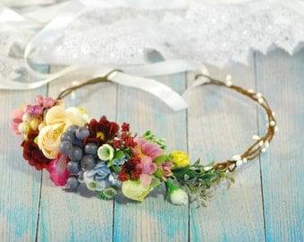 Spring Wedding flower crown Floral headband Bridal hair wreath Flower Girl Crown Floral Hair Wreath Wedding flower halo Bridal hair wreath