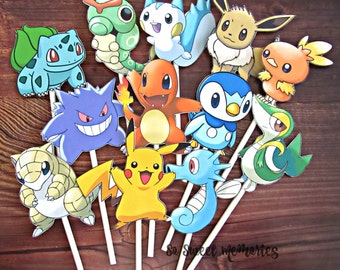 POKEMON Cupcake Toppers / Cake Toppers / Die Cuts / Birthday Party / Decorations / Cake Pops / Supplies / Decor / Fast Shipping