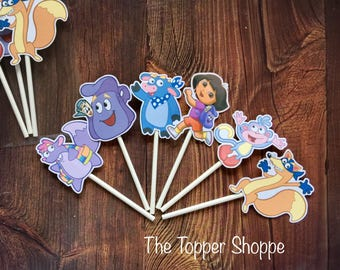 DORA THE EXPLORER Cupcake Toppers / Cake Toppers / Die Cuts / Birthday Party / Decorations / Cake Pops / Supplies / Decor / Fast Shipping