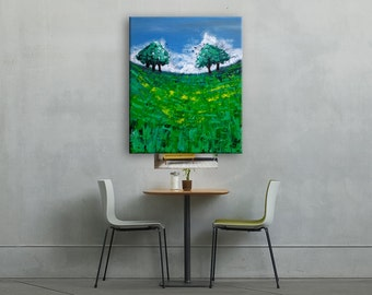 Abstract Impressionist Fisheye Oaks in a Green Field Original Artwork Painting on Canvas, Oak Trees, Field, Tree Original Acrylic 16x20