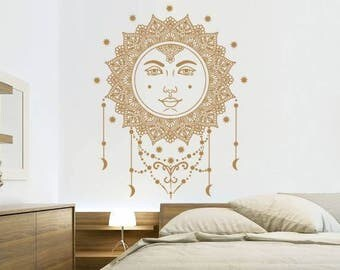 Sun And Moon Wall Decal Ethical Stars Symbol Vinyl Sticker Decals Crescent Sunshine Bohemian Boho Decor Bedroom Dorm Nursery Interior NV201