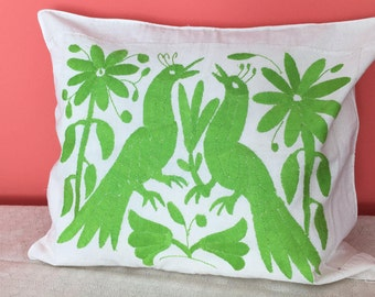 Embroidered Pillow Cover - Otomi - Green