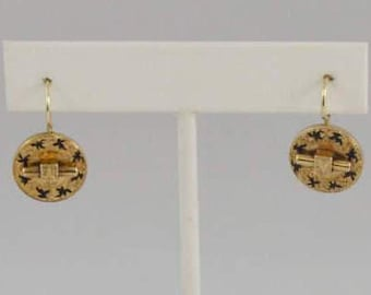 14k Yellow Gold Redesigned Victorian Earrings W/ Black Enameled Incised Carvings