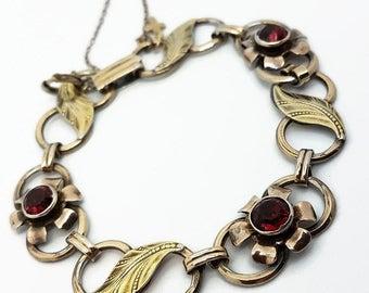 Vintage Van Dell Bracelet 12 kt GF on Silver with Red Garnets 1950 10kt Cross Safety Chain