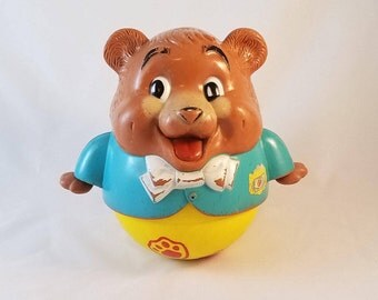 """1969 Fisher Price Toys Roly Poly Musical Bear Pull Toy Chubby Cub, 9"""" tall"""