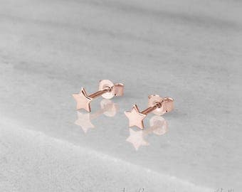 Tiny Star Earrings, 14k Gold Earrings, Rose Gold, Gold Stud Earrings, Women's Gift, Gold Star Studs, Minimalist Earrings, Dainty Earrings