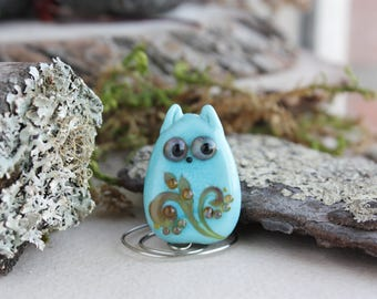 Lampwork cat bead , Handmade Glass Beads, Animal Lampwork, Lampwork Kitty, Lampwork Cat, Glass Kitten, Animal bead, Blue cat bead