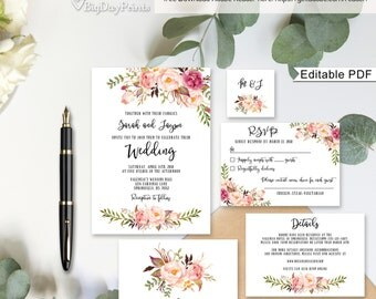 Floral Wedding Invitation Template, Boho Chic Wedding Invitation Suite, Wedding Set, #A019A, Editable PDF - you personalize at home.