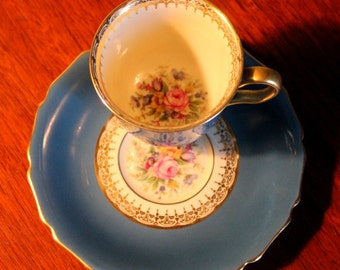 Pretty Rosenthal Demitasse Cup and Saucer - Blue with Floral Bouquet, Gilded Edge and Handle