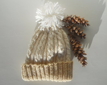 Knit beanie hat | Cable knit hat | Winter women's hat | Tan knit beanie | Pom pom hat white | Acrylic beanie | Gift accessories