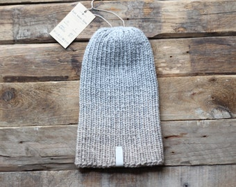HOLIDAY SALE and FREE shipping chunky knit unisex slouchy hat beanie. Steal this hat. Grey-biege.