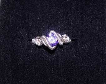 Sterling silver ring with purple zirconia. Elegant ring, crystal ring, solitaire ring