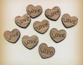 Love heart wood cut outs rustic 100 or 200 craft supply scrapbooking wedding engagement confetti embellishment shapes small shower
