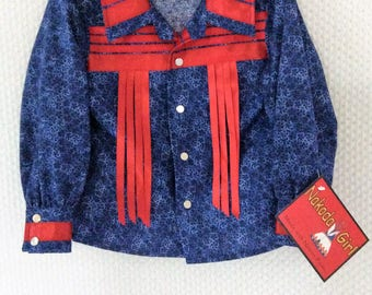Native American Regalia *Nakoda Made* Traditional Kids Pow Wow SNAP FRONT Ribbon Shirt© Size 2