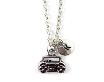 TAPE PLAYER charm necklace, silver tape player necklace, initial necklace, personalized necklace, initial jewel, personalized jewelry, gift