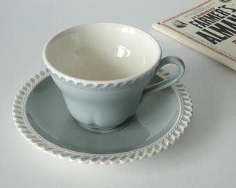 Set of Two, Harkerware, Tea Cup and Saucer Set, Blue and White, Vintage, Harker Pottery