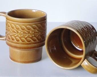 Set of Two, Saffron, Stacking, Coffee Mugs, Saffron, Mug Set, Vintage Mugs