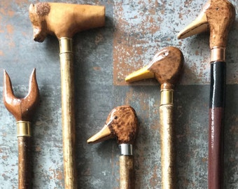 Hand carved walking sticks