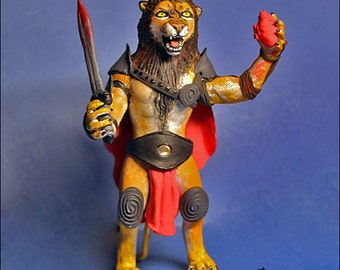 Lion Warrior sculpture lion warrior gladiator blood bloody heart sword furry creature armor gift