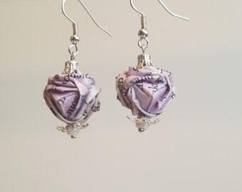 Pale purple origami earrings  |  Book Paper earrings  |  Upcycled Origami Earrings