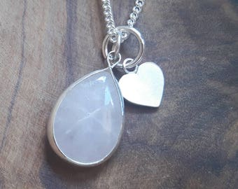 Rose Quartz and Sterling Silver Heart Charm