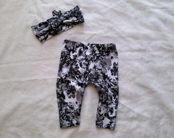 Baby girl Black and White Floral Leggings - Black and White Floral Toddler Leggings