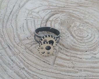 Steampunk double gear ring