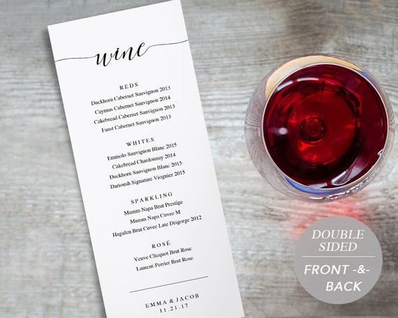 Wine Menu Printable Wedding Wine List Template Drink Menu