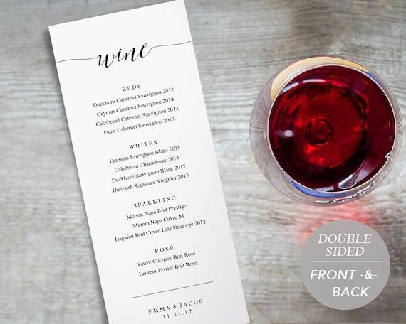 Wine Menu Printable Wedding Wine List Template Drink Menu