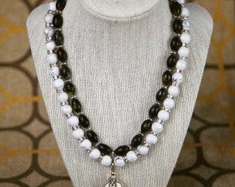 Howlite & Serpentine Multi Strand Necklace with silver wire woven howlite pendant