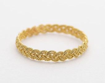 18K Gold Woven Wedding Band Double Strand Braided AD1240