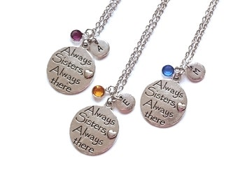 Set of 3 Best Friend Necklace, Sister Necklace for 3 , Sisters Gift, Gift for Bridesmaid, BFF, Christmas Gift, Birthstone Initial Charm