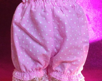 """PINK with WHITE Dots BLOOMERS  Made For 12 to 14.5""""  Slim Dolls Like Wellie Wishers Doll Clothes, Panties  BL20"""
