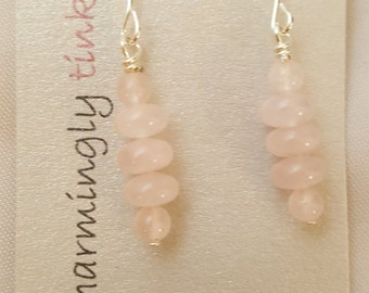Rose Quartz dangle fish hook earrings (E16-023)