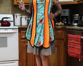 Retro apron pinup girl apron 50's apron diner apron turquoise atomic starburst orange chenille vintage out of print pattern rockabilly apron