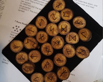 Wood runes with free shipping - oak runes - Viking Runes - rune pouch, rune meanings and rune reading instruction included