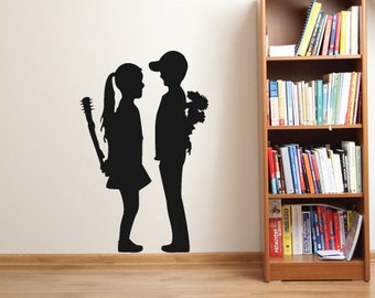 Banksy Girl And Boy Wall Sticker Decal Art. Street Artist Gift For Home Decor/Office