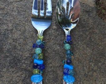 Wire Wrapped Beaded Serving Set--Blue and Green