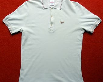 Vintage Men's Polo Top In Cream With Contrasting Dark/Light Brown Piping. Size Medium.