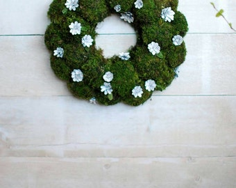 Natural Moss Spring Wreath For Front Door, Easter Table Decorations, Spring  Centerpiece, Real