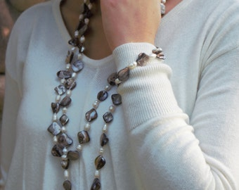 Long Grey and White Freshwater Pearl Necklace and Bracelet