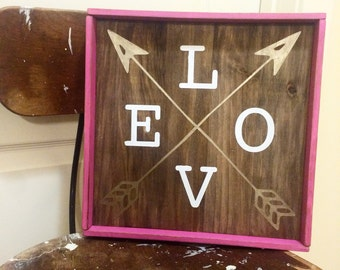 Love & Arrows wood sign