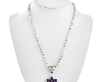 February's birthstone Pendant Necklace Amethyst Onyx Silver Design