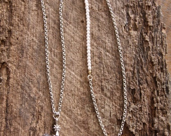 Locket Necklace,  Silver-tone and Pearl Necklace