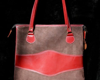 Two-Toned Tall Tote - Genuine Leather - Brown/Red - Handmade