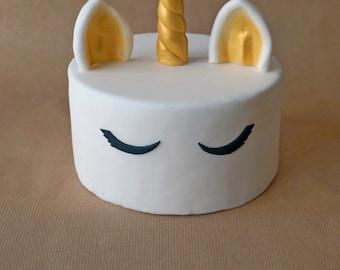 Fondant gold unicorn cake topper, unicorn topper, gold unicorn horn, custom cake topper, cake decoration, birthday decor,  girl cake topper