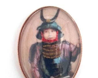 Samurai hand embroidered brooch